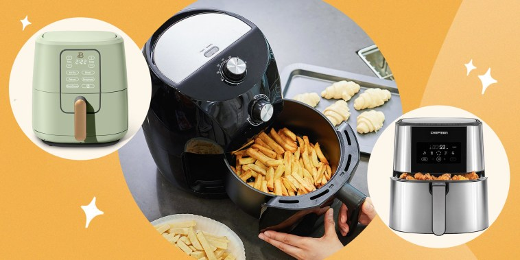 Illustration of the Beautiful Quart Touchscreen Air Fryer in Sage Green and the Chefman TurboFry Air Fryer and a person using an Air Fryer at home in the kitchen
