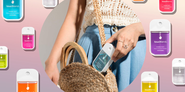 Illustration of different colors of Touchland Hand Sanitizer mist and a Woman putting a mist in her purse