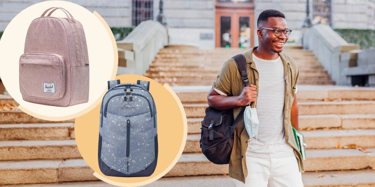 Illustration of a Young cheerful male student smiling and carrying books and a backpack, going to school, pink Miller Backpack and patterned Swerve Pro Backpack