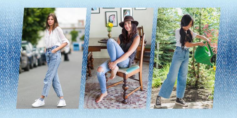 Three different Woman wearing denim jeans