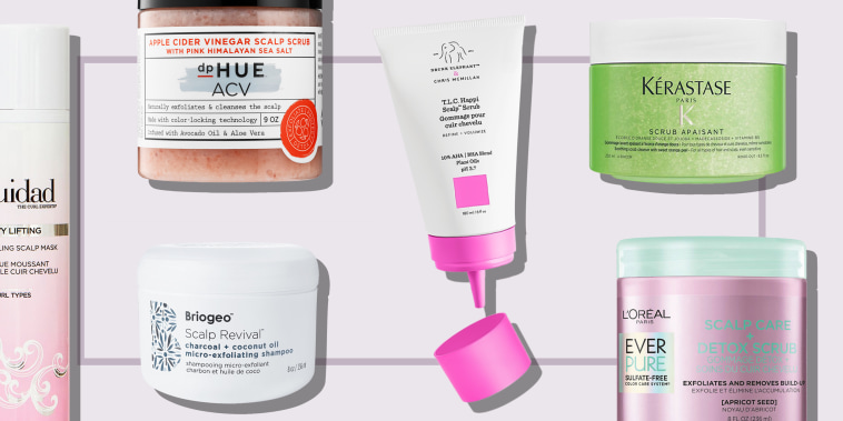 Illustration of 6 different kinds of scalp scrub to buy