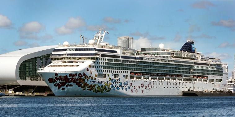 Image: The Norwegian Gem cruise ship on Aug. 9, 2021, at PortMiami in Miami.