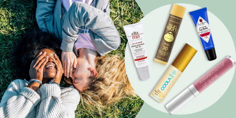 Illustration of 5 best SPF lip balms and two friends laying out in the sun