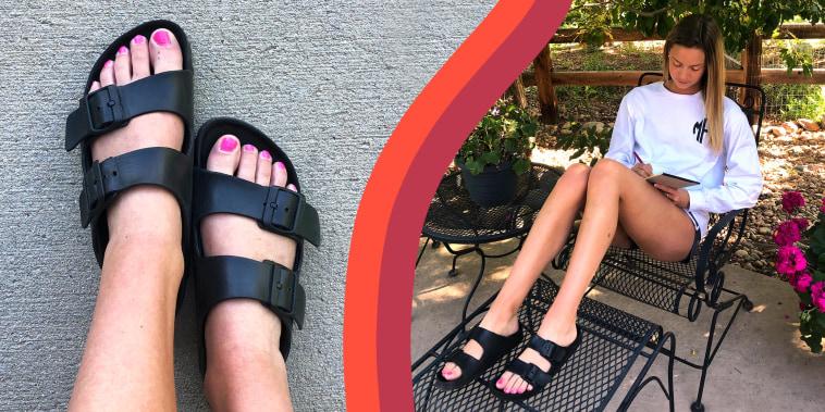 Two images of Writer Megan Foster wearing black Birkenstock Arizona EVA Sandals