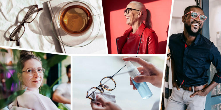 Illustration of overhead of glasses next to tea, a Woman on a red wall wearing glasses, Man wearing glasses, Woman looking at camera wearing pink glasses and someone spraying glasses cleaner