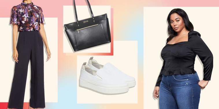 Illustration of a Jumpsuit, a Woman wearing a black top, pair of white sneakers and a bag all on sale at T.J. Maxx