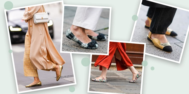 Collage illustration of Woman wearing  different colors and styles of flats, outside