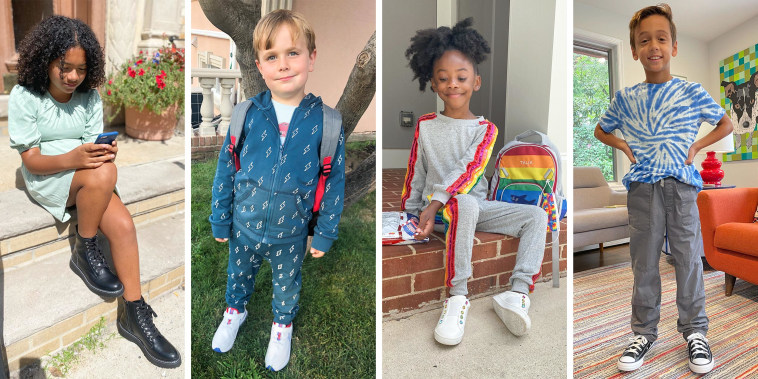Illustration of four different kids wearing different styles of outfits for back to school fashion