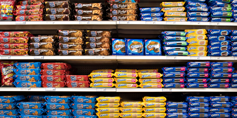 Mondelez International, Inc. cookie products including Oreo, Chips Ahoy, and Nilla brands sit on a supermarket shelf in Princeton, Illinois, U.S., on Wednesday, April 1, 2015.