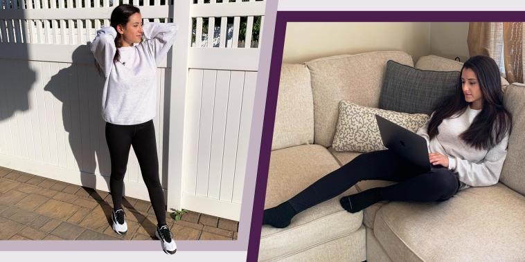 Two images of Writer Jillian Ortiz wearing black Uniqlo Airism UV Protection Soft Leggings