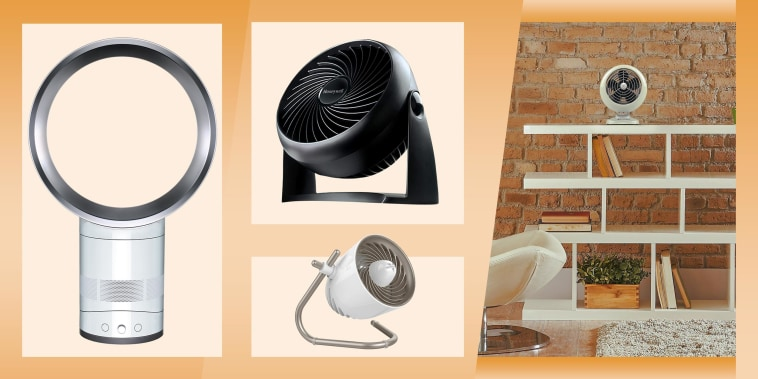 Illustration of three types of desk fans and a desk fan sitting in someones living room