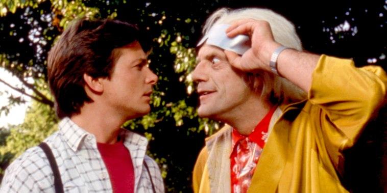 Michael J. Fox, Christopher Lloyd, 1989 in Back to the Future II.