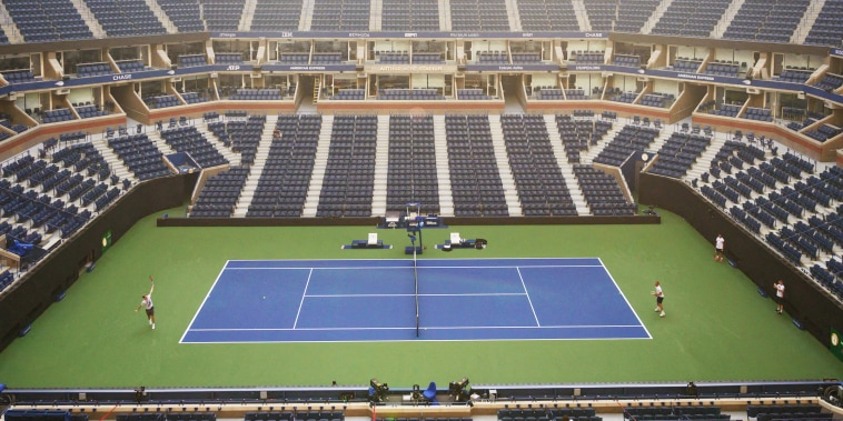 A general view shows the Arthur Ashe stadium ahead of the 2021 US Open Tennis tournament at the Billie Jean King Natinal Tennis Center in Queens, New York on August 24, 2021