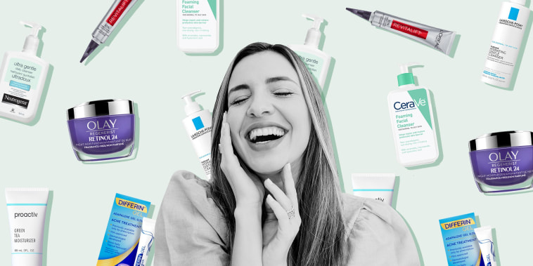 Illustration of Laughing woman touching cheek with eyes closed and skin care beauty products behind her