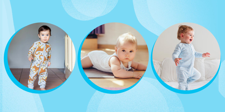 Three images of cute babies wearing different onesies