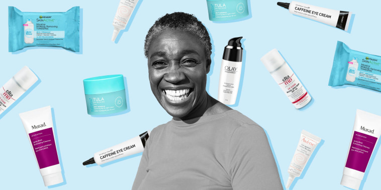 Portrait of mature woman laughing and illustration of different skin care products raining down behind her