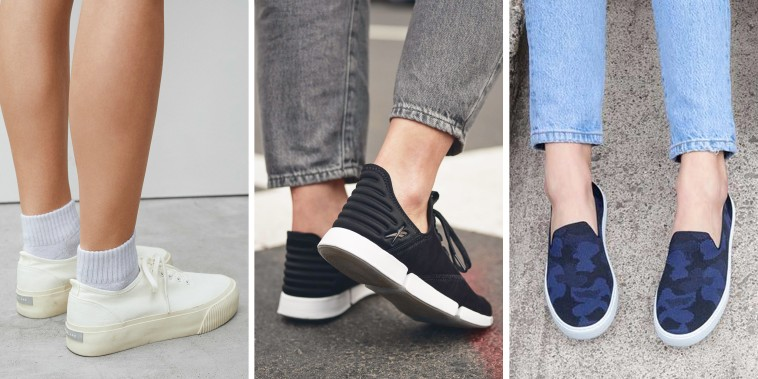 Images of Reebok DailyFit DMX Women's Shoes and Everlane The Forever Platform Sneaker
