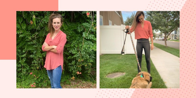 Writer Katie Jackson wearing a pink tunic outside, from Amazon and walking her dog in the tunic