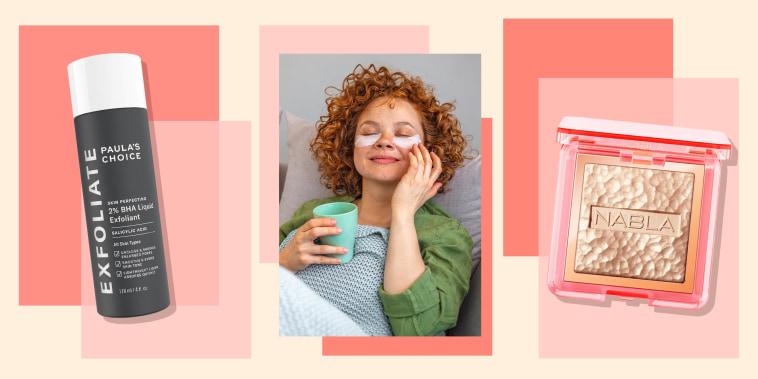 Illustration of a Woman wearing under eye patches, 2% BHA Liquid Exfoliant and NABLA Skin Glazing