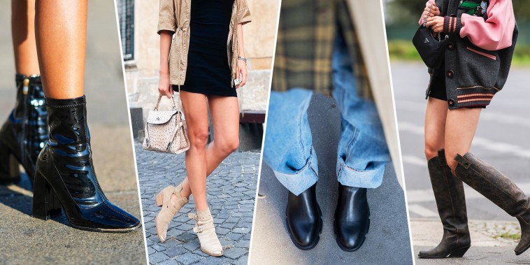 Overhead of someone wearing plaid and black boots, studded block heels ankle boots, beige Diesel boot and someone wearing stylish black shiny leather pointed block heels ankle boots