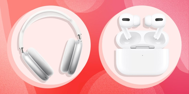 Illustration of Apple headphones and Apple AirPods
