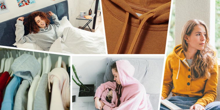 Illustration of different Woman wearing cozy hoodies, some hoodies in a closet and a close up of a fall inspired hoodie