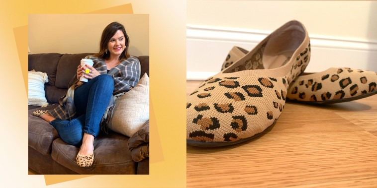 Writer Casey DelBasso sitting on her couch wearing the Amazon Essentials Women's Knit Ballet Flats in leopard print and a close up of the shoes