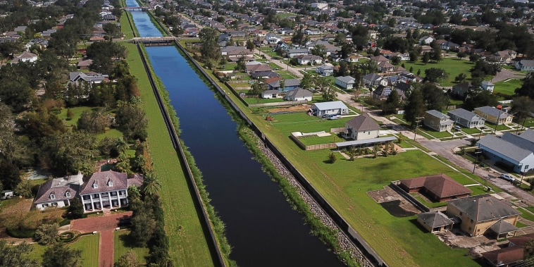 The London Avenue Canal in the Gentilly neighborhood of New Orleans on Aug. 31, 2021.