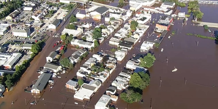 Bridgeport, Pa., near the Schuylkill River is flooded after Tropical Storm Ida passed through on Sept. 2, 2021.
