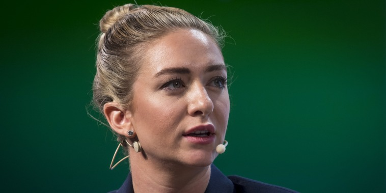 Bumble chief executive Whitney Wolfe speaks during the TechCrunch Disrupt 2018 in San Francisco on Sept. 6, 2018.