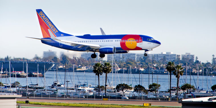 A Southwest Airlines flight approaches Lindbergh Field in San Diego on March 3, 2017.