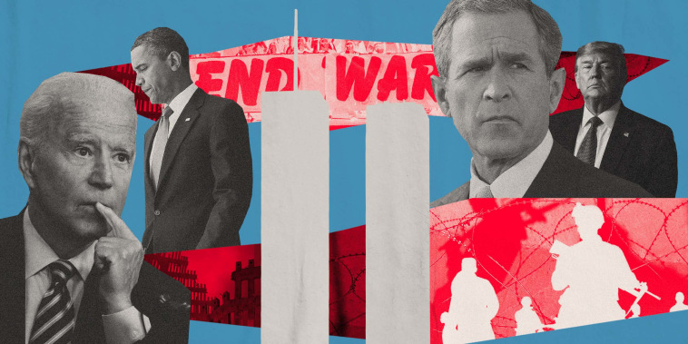 Illustration of Presidents Joe Biden, Barack Obama, George W. Bush and Donald Trump, cutouts of the Twin Towers and photos of anti-war protests and soldiers.