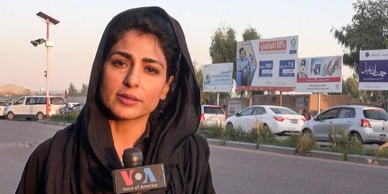 Voice of America journalist Ayesha Tanzeem at work in Afghanistan.