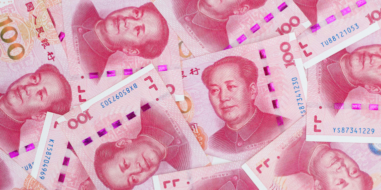 Chinese one-hundred yuan banknotes in 2020.