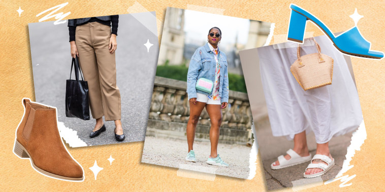 Images of three different Women wearing fashionable shoes, a bootie, and blue shoe with a heel