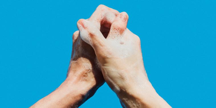 Woman washing hands personal perspective, prayer hands, praying against Coronavirus or Covid19