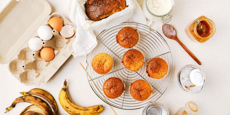 Homemade banana and honey muffins, banana bread, various ingredients, top view
