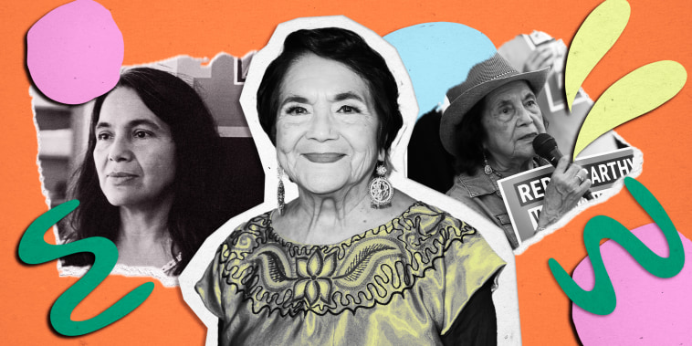 Collage of photos of Dolores Huerta on orange background