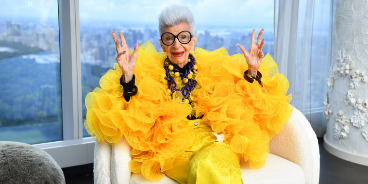 Iris Apfel sits for a portrait during her 100th Birthday Party at Central Park Tower on September 09, 2021.