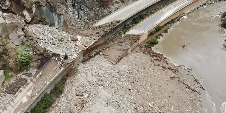 Image: An aerial image of I-70 Glenwood Canyon damage from mudslides