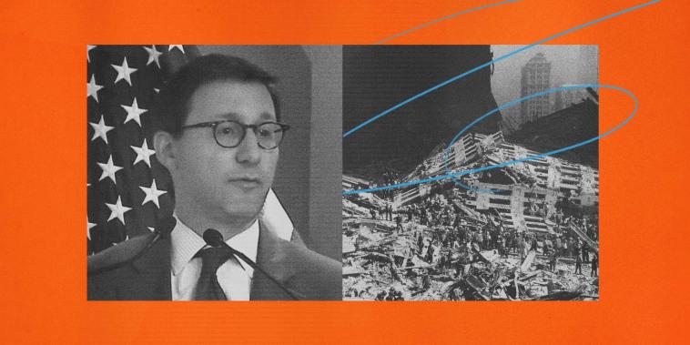 Image: Matt Levitt discusses lone wolf terrorism on C-SPAN; wreckage at ground zero after the 9/11 terrorist attacks.