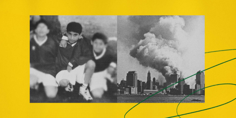 Image: Illustration of Ahmed Twaij as a boy in London in 1998, and smoke billows from the wreckage of ground zero after the 9/11 terror attacks in New York.