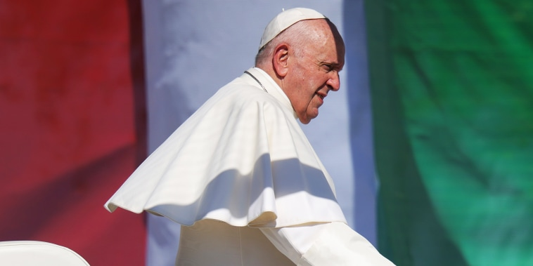Pope Francis leads a large-scale, open-air mass on the first day of a four-day visit to Hungary and Slovakia on Sept. 12, 2021, in Budapest.