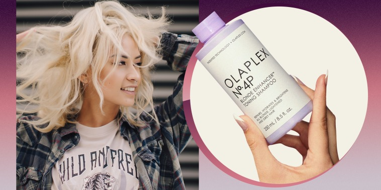 Woman playing with her blonde hair outside and a bottle of the Olaplex No. 4P Shampoo