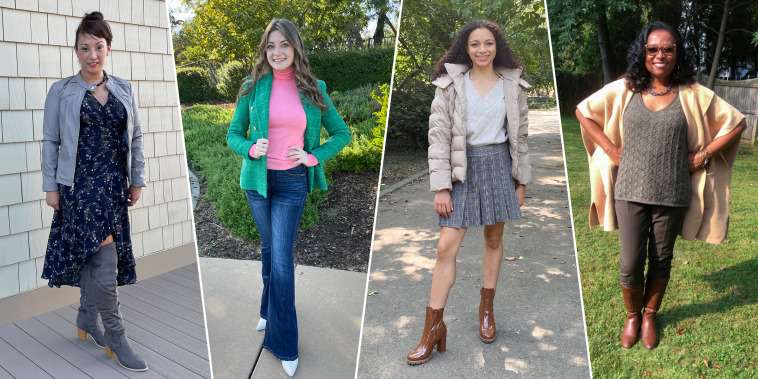 Split image of four different Women, outdoors, wearing fall fashion styled by Amy Goodman