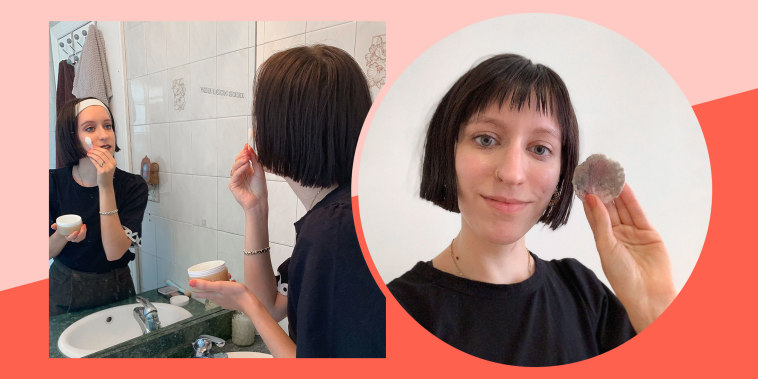 Split before and after image of writer Daniella Musacchio, who used dJunoco Cleansing balm to remove her makeup
