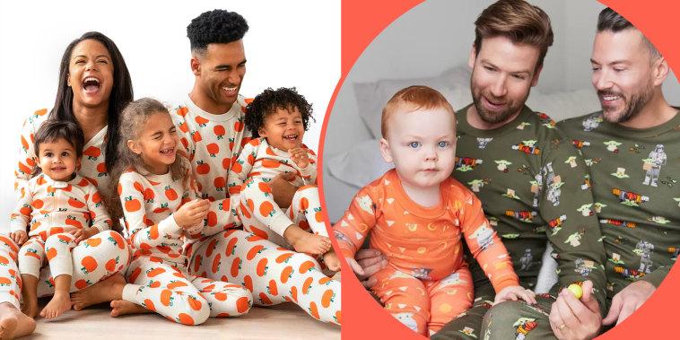 Collage of families wearing halloween pijamas
