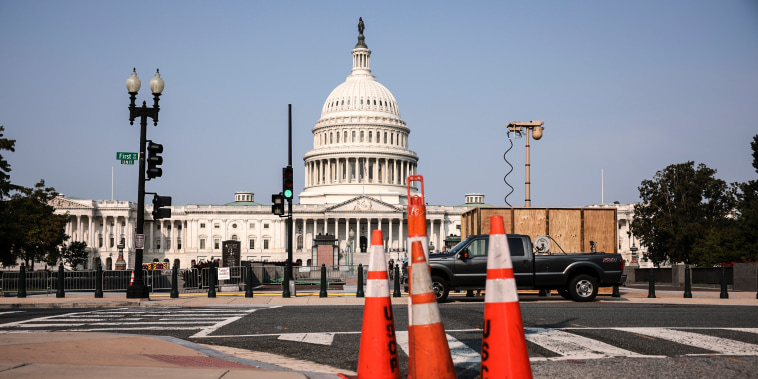 A recently installed surveillance camera is seen positioned near the U.S. Capitol on Sept. 13, 2021.
