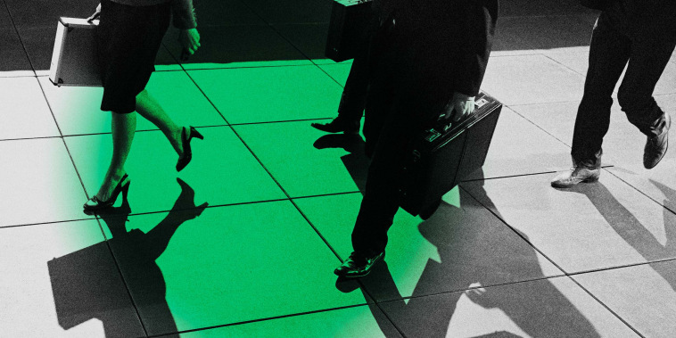 Image of people carrying briefcases with a green circle.