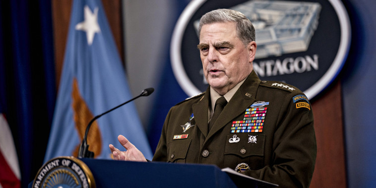 Mark Milley, chairman of the joint chiefs of staff, speaks during a news conference at the Pentagon in Arlington, Va., on Sept. 1, 2021.